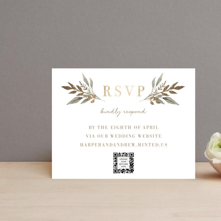 """Shade Garden"" - Foil-pressed Rsvp Online Enclosure Cards in Ink by Robin Ott."
