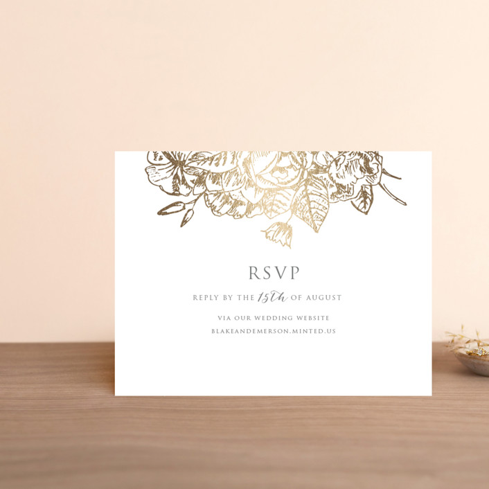 """""""Gilded Wildflowers"""" - Foil-pressed Rsvp Online Enclosure Cards in Golden by Rochelle Renee."""