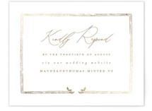 This is a white rsvp card by Leah Bisch called Reflection with foil-pressed printing on signature in standard.