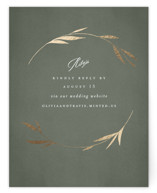 This is a green rsvp card by Kelly Schmidt called Minimal Circle with foil-pressed printing on signature in standard.