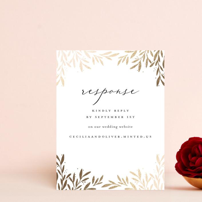 """Vine + Pen"" - Foil-pressed Rsvp Online Enclosure Cards in Gardenia by Laura Hankins."