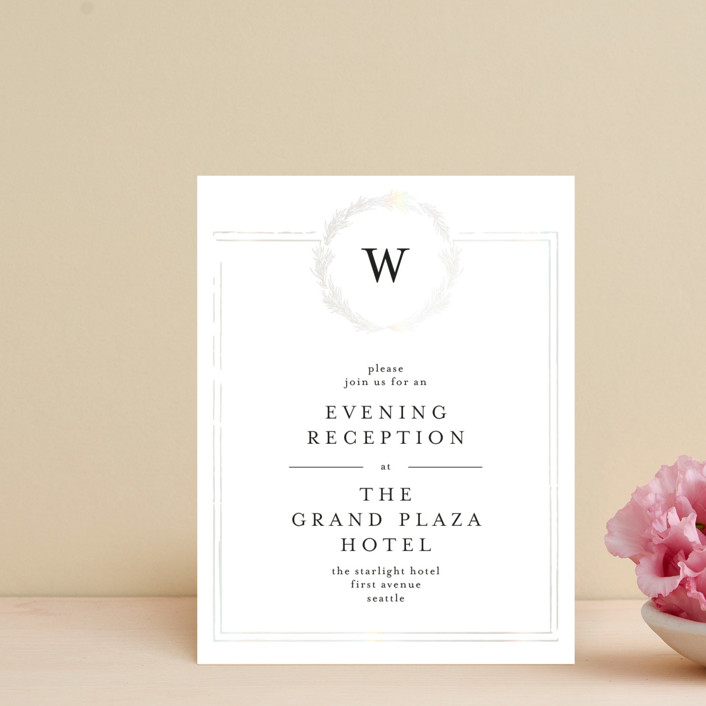 """Little Wreath"" - Gloss-press™ Reception Card in Pearl by Phrosne Ras."