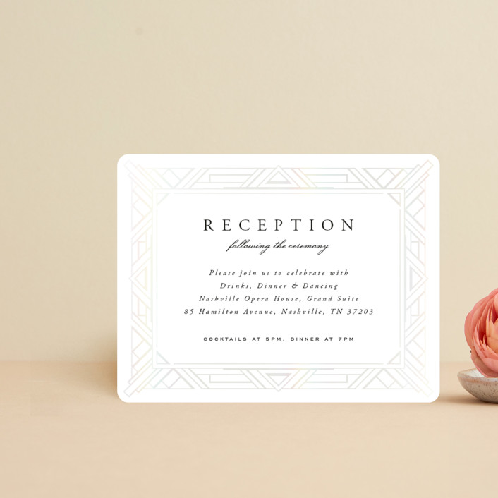 """Opulent Border"" - Vintage Gloss-press™ Reception Card in Stone by Hooray Creative."