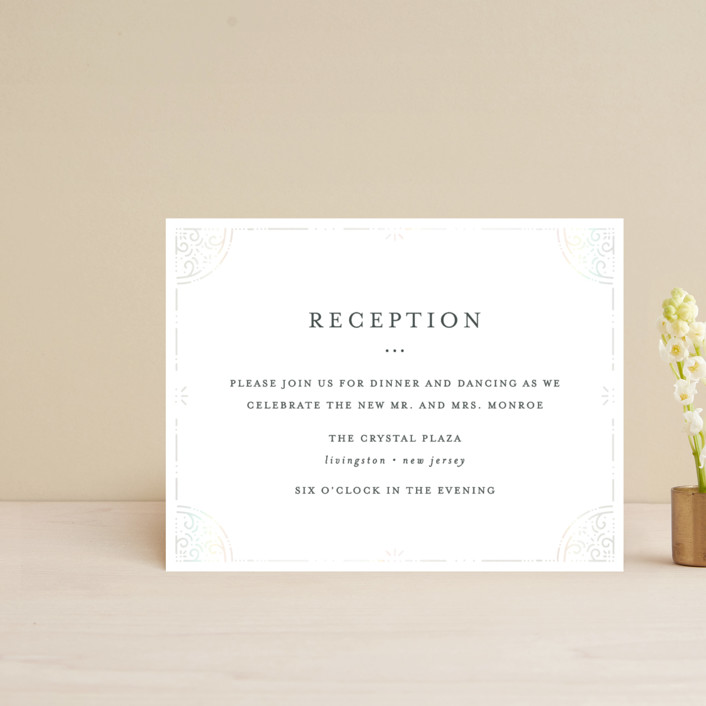"""""""Foil Frame"""" - Vintage Gloss-press™ Reception Card in Cloud by Bethan."""
