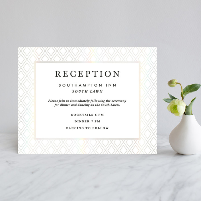 """Gilded Bloom"" - Rustic Gloss-press™ Reception Card in Pearl by Christie Kelly."