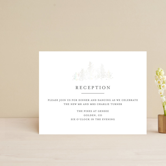 """Golden Pines"" - Gloss-press™ Reception Card in Ivory by Bethan."
