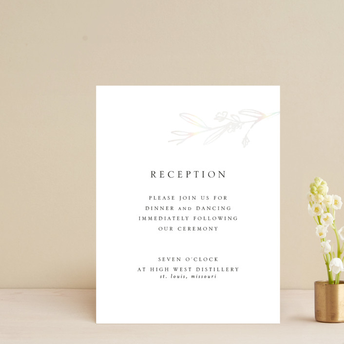 """Metallic Branches"" - Rustic Gloss-press™ Reception Card in Snow by Mere Paper."