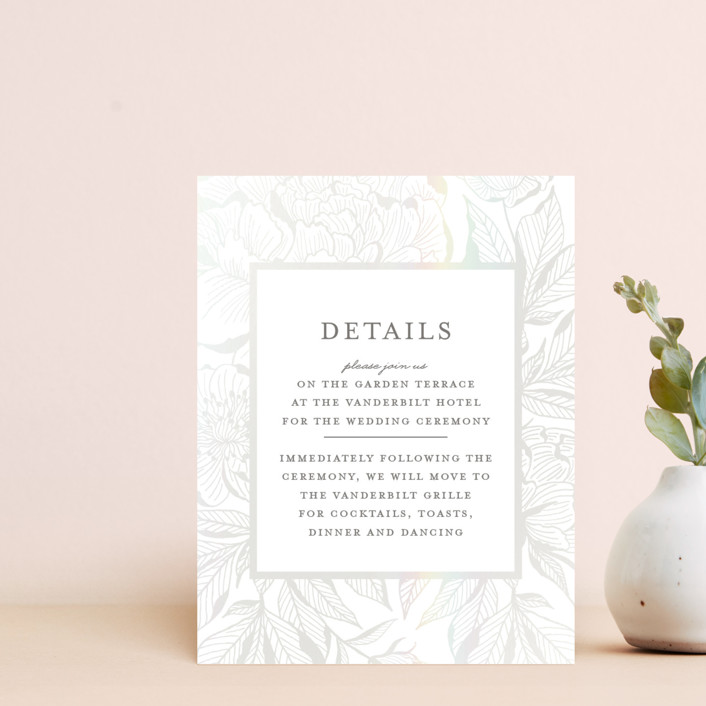 """""""Etched Peonies"""" - Gloss-press™ Reception Card in Snow by Chris Griffith."""