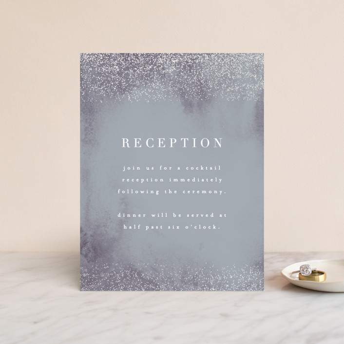 """""""Dusted"""" - Gloss-press™ Reception Card in Pale Ice by Everett Paper Goods."""