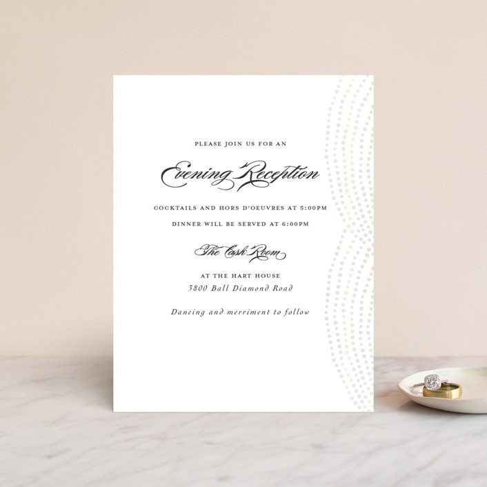 """""""Bespeckle"""" - Gloss-press™ Reception Card in Pearl by Benita Crandall."""