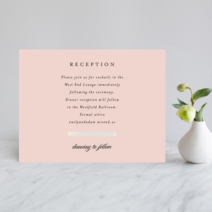 """Classic Bars"" - Gloss-press™ Reception Card in Peachy by Kasia Labocki."