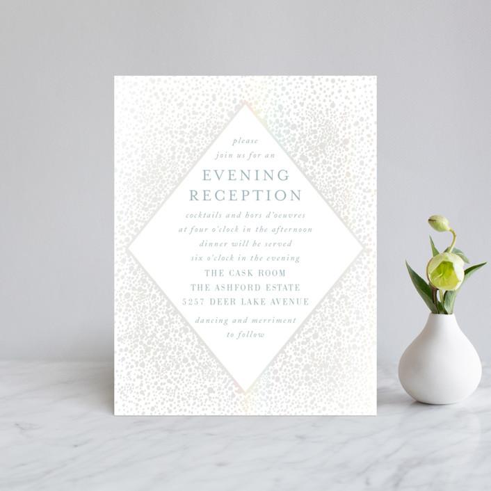 """Modern Elegance"" - Modern Gloss-press™ Reception Card in Opal by Alexandra Dzh."