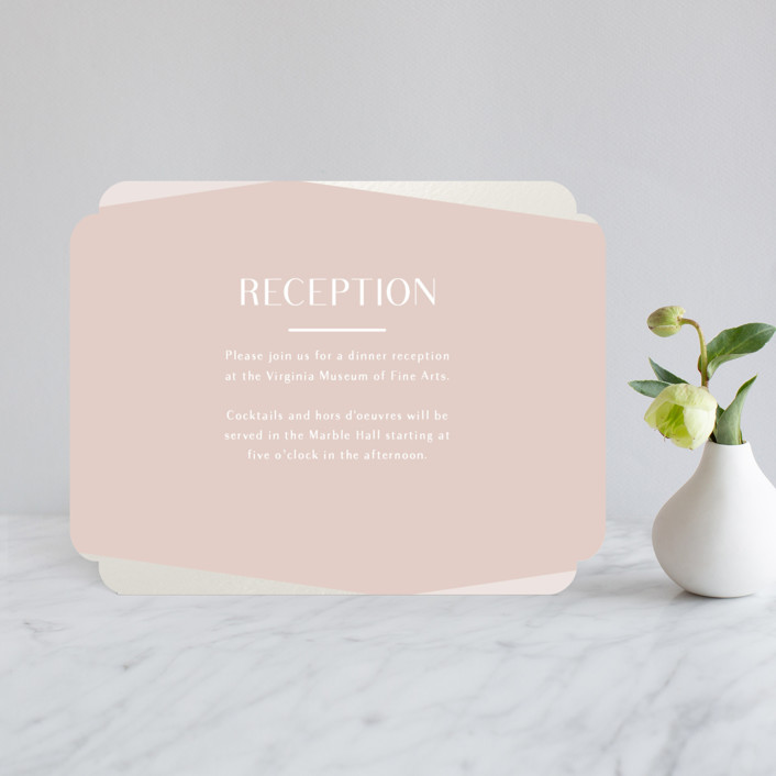 """""""Radiant Frame"""" - Gloss-press™ Reception Card in Shell Pink by Meggy Masters."""