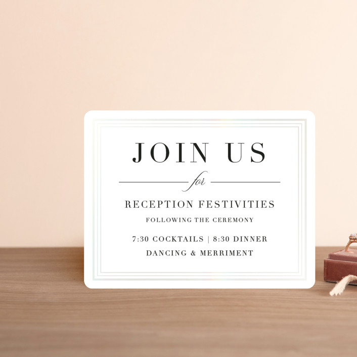 """""""Tailored Stripes"""" - Gloss-press™ Reception Card in Opal by Griffinbell Paper Co.."""