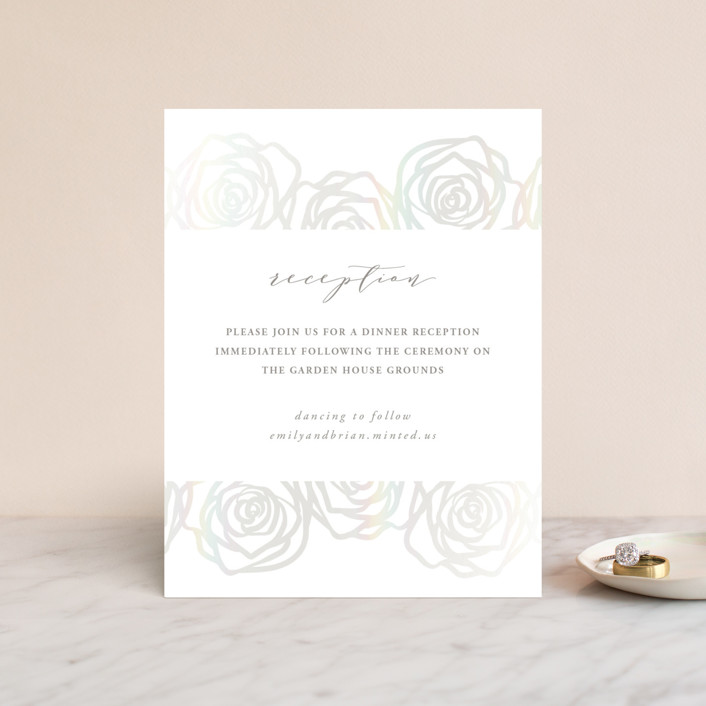 """Rose Box"" - Gloss-press™ Reception Card in Natural by Melinda Denison."