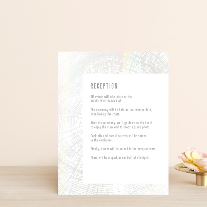 """Wedding Rings"" - Rustic Gloss-press™ Reception Card in Fog by Laura Bolter Design."