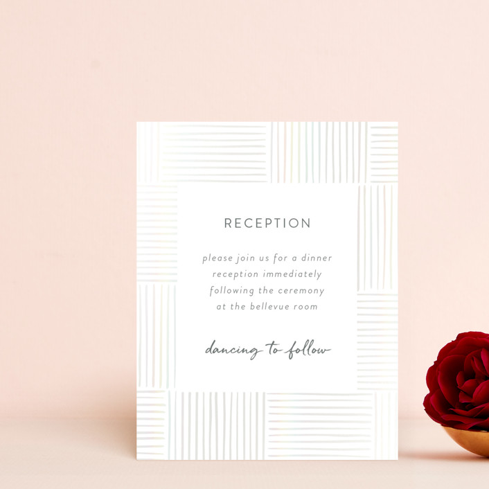 """Bamboo"" - Bohemian Gloss-press™ Reception Card in Quartz by Tennie and Co.."