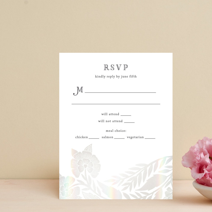 """""""Block Printed Border"""" - Gloss-press™ Rsvp Cards in Cement by Katharine Watson."""