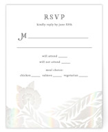This is a grey rsvp card by Katharine Watson called Block Printed Border with gloss-press printing on signature in standard.