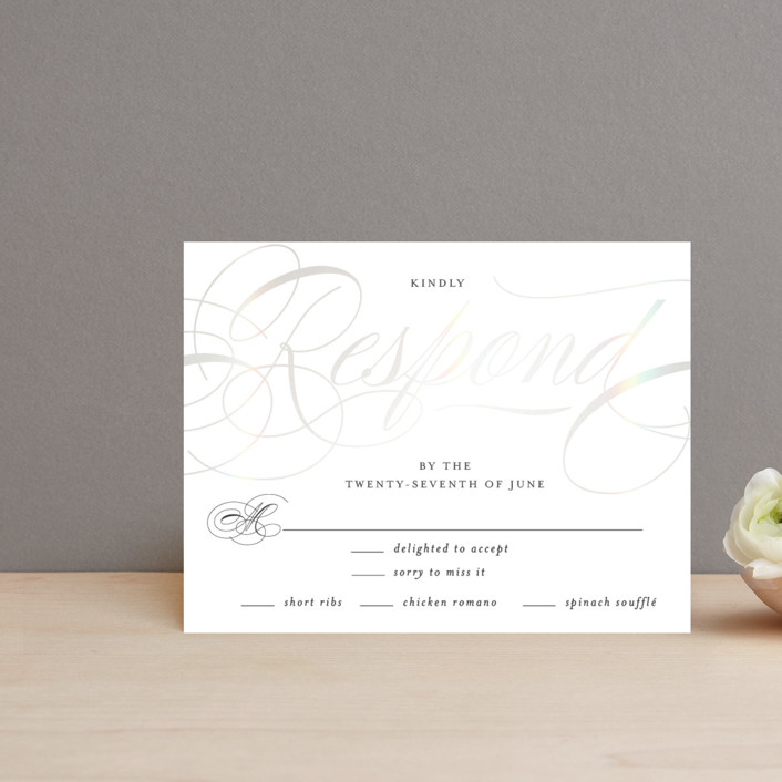 """""""Filigree"""" - Gloss-press™ Rsvp Cards in Snow by Carrie ONeal."""