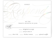 This is a black and white rsvp card by Carrie ONeal called Filigree with gloss-press printing on signature in standard.
