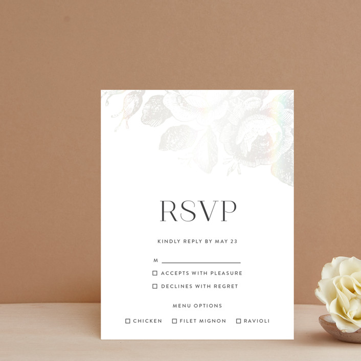 """Beloved"" - Rustic Gloss-press™ Rsvp Cards in Snow by Design Lotus."