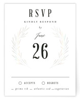 This is a white rsvp card by Kelly Schmidt called Gilded Leaves with gloss-press printing on signature in standard.