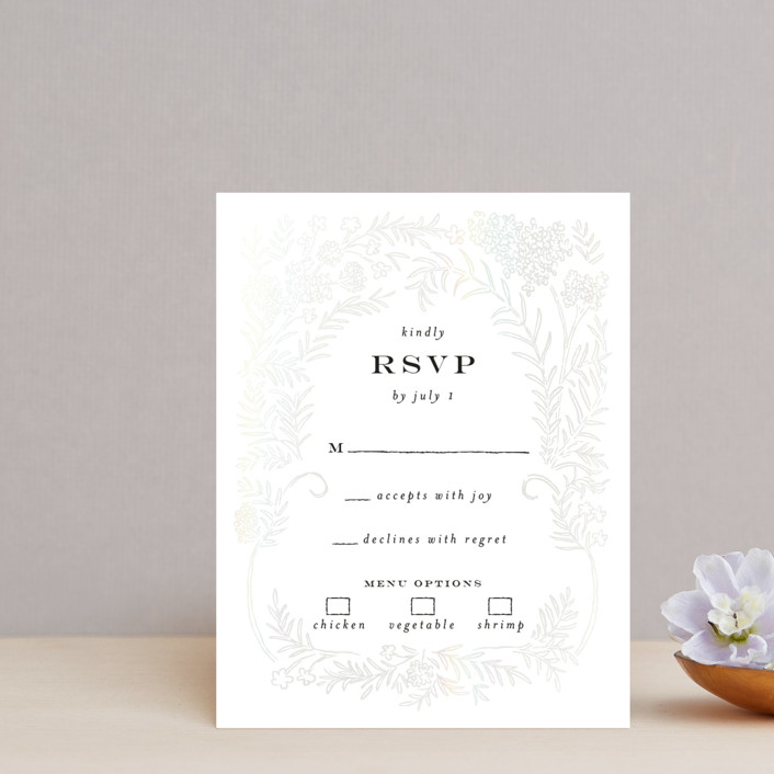"""Lacy Meadow Ovals"" - Gloss-press™ Rsvp Cards in Snow by Shiny Penny Studio."