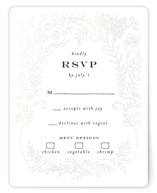 This is a white rsvp card by Shiny Penny Studio called Lacy Meadow Ovals with gloss-press printing on signature in standard.