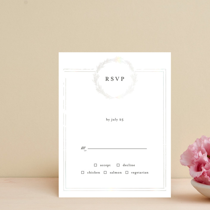 """Little Wreath"" - Gloss-press™ Rsvp Cards in Pearl by Phrosne Ras."