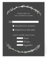 This is a grey rsvp card by carly reed walker called Mulberry with gloss-press printing on signature in standard.