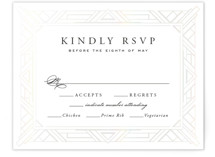 This is a white rsvp card by Hooray Creative called Opulent Border with gloss-press printing on signature in standard.