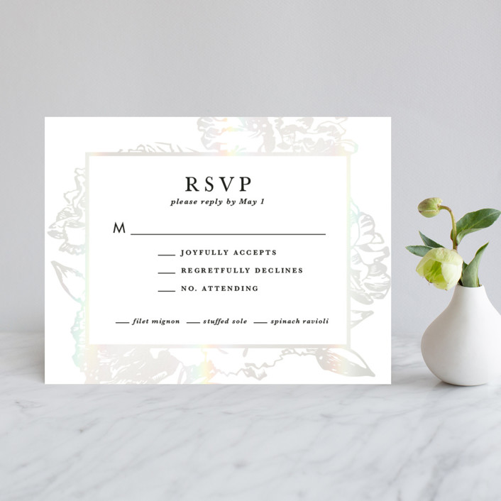 """""""Gilded Bloom"""" - Rustic Gloss-press™ Rsvp Cards in Pearl by Christie Kelly."""