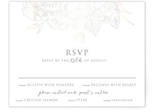 This is a grey rsvp card by Smudge Design called Gilded Wildflowers with gloss-press printing on signature in standard.