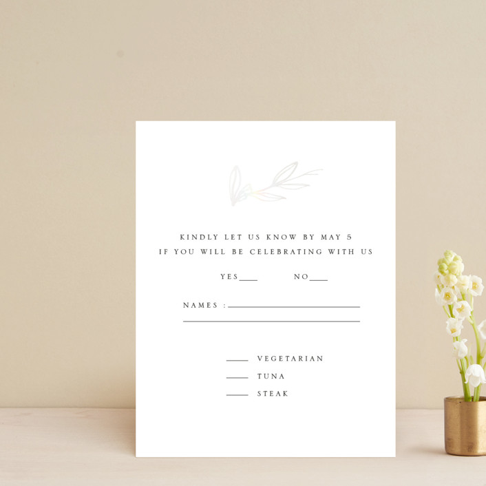 """""""Metallic Branches"""" - Rustic Gloss-press™ Rsvp Cards in Snow by Mere Paper."""