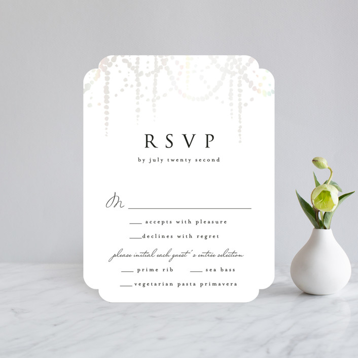 """Pearl Garland"" - Bohemian Gloss-press™ Rsvp Cards in Cloud by Julia Hall."