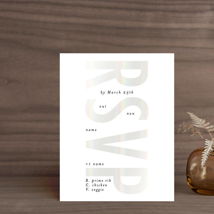 """""""Oui"""" - Gloss-press™ Rsvp Cards in Opal by Gwen Bedat."""