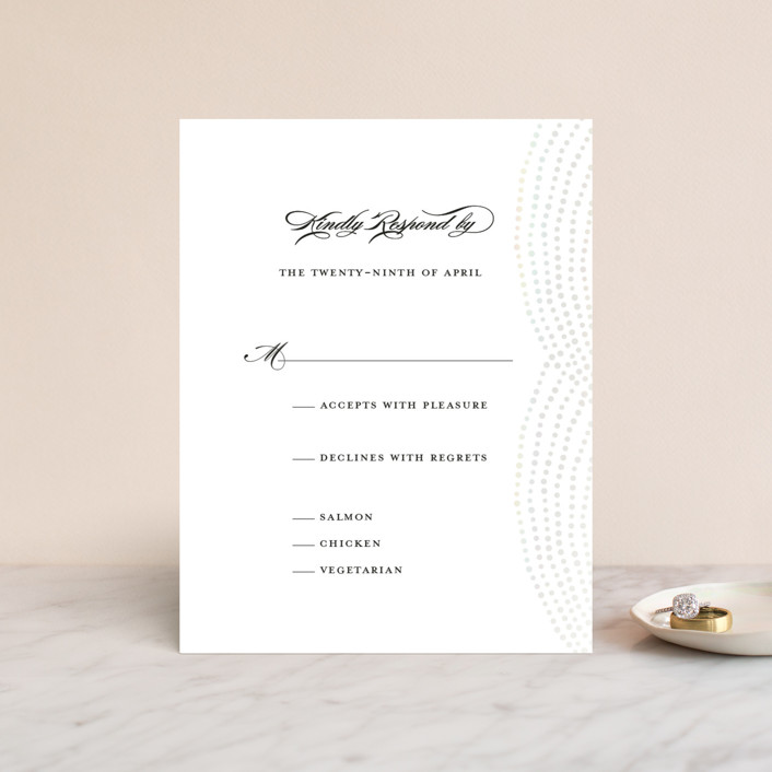 """""""Bespeckle"""" - Gloss-press™ Rsvp Cards in Pearl by Benita Crandall."""