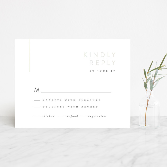 """""""Corners"""" - Modern Gloss-press™ Rsvp Cards in Pearl by Carrie ONeal."""