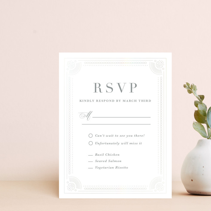 """""""Adorn"""" - Gloss-press™ Rsvp Cards in Shimmer by Kristen Smith."""