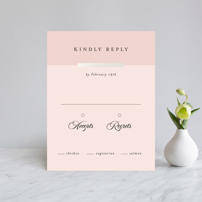 """Classic Bars"" - Gloss-press™ Rsvp Cards in Peachy by Kasia Labocki."