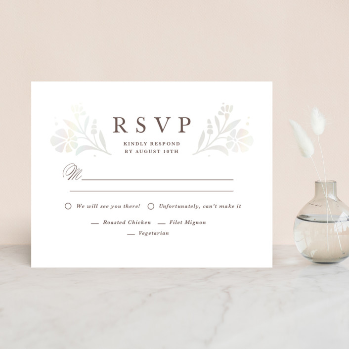 """Jasmine"" - Gloss-press™ Rsvp Cards in Shimmer by Kristen Smith."