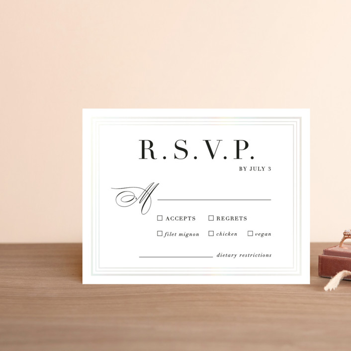 """""""Tailored Stripes"""" - Gloss-press™ Rsvp Cards in Opal by Griffinbell Paper Co.."""
