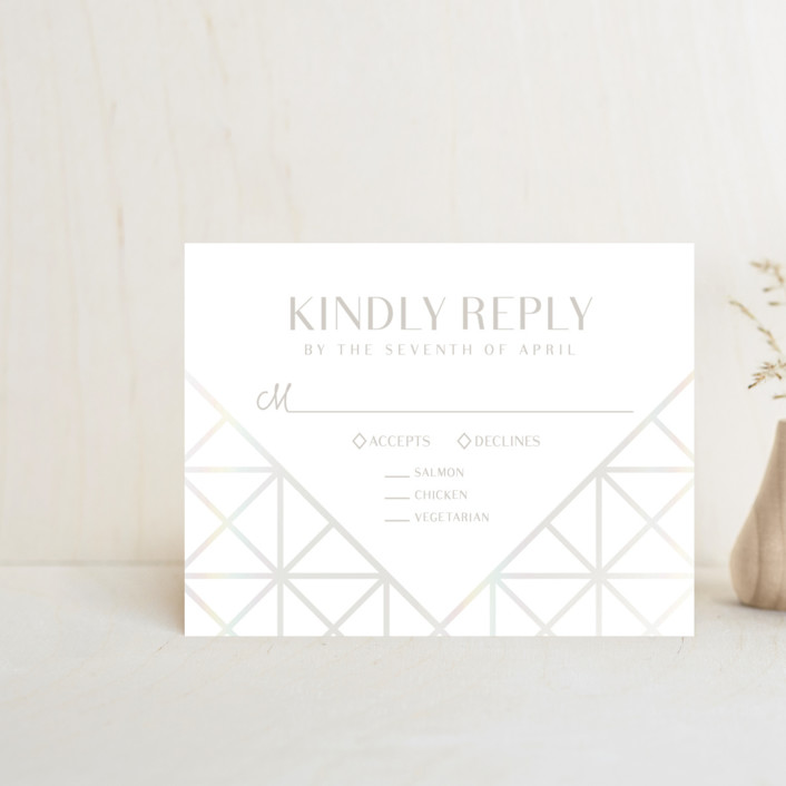 """""""Brilliant Cut"""" - Vintage Gloss-press™ Rsvp Cards in Diamond by Meggy Masters."""