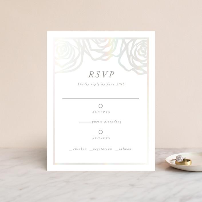 """Rose Box"" - Gloss-press™ Rsvp Cards in Natural by Melinda Denison."