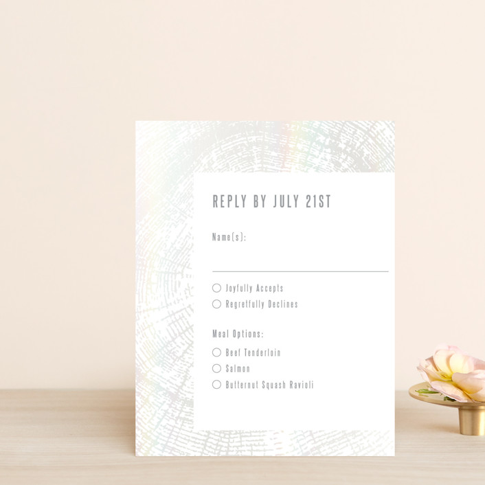 """""""Wedding Rings"""" - Rustic Gloss-press™ Rsvp Cards in Snow Capped by Laura Bolter Design."""