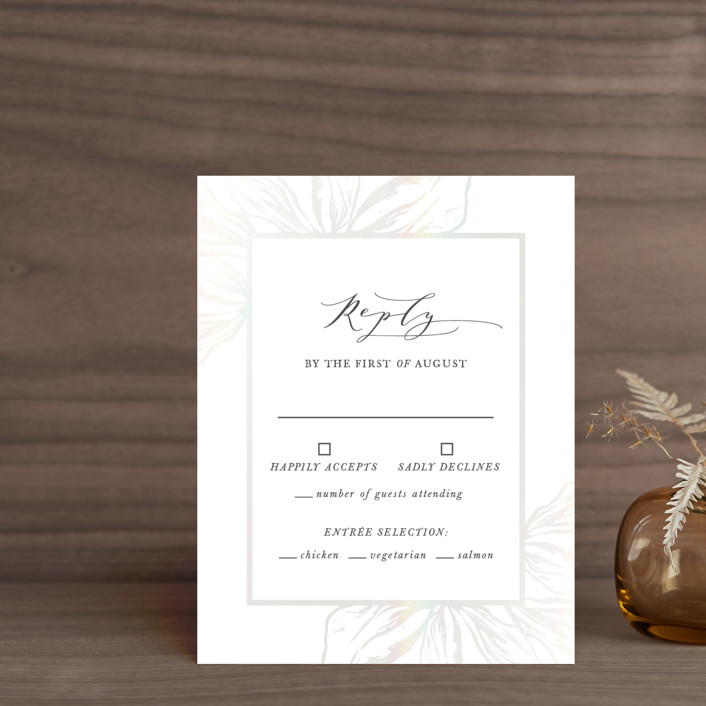 """Forevermore"" - Gloss-press™ Rsvp Cards in Ivory by Melinda Denison."