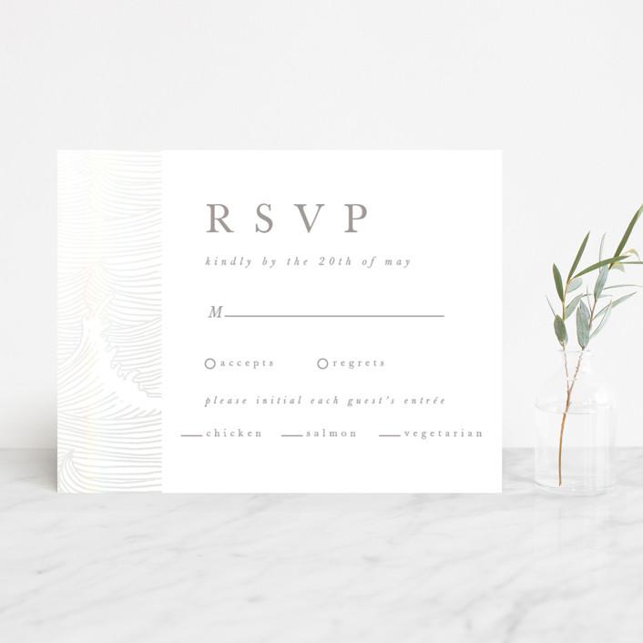 """romantic waves"" - Gloss-press™ Rsvp Cards in Sand Dollar by Angela Garrick."