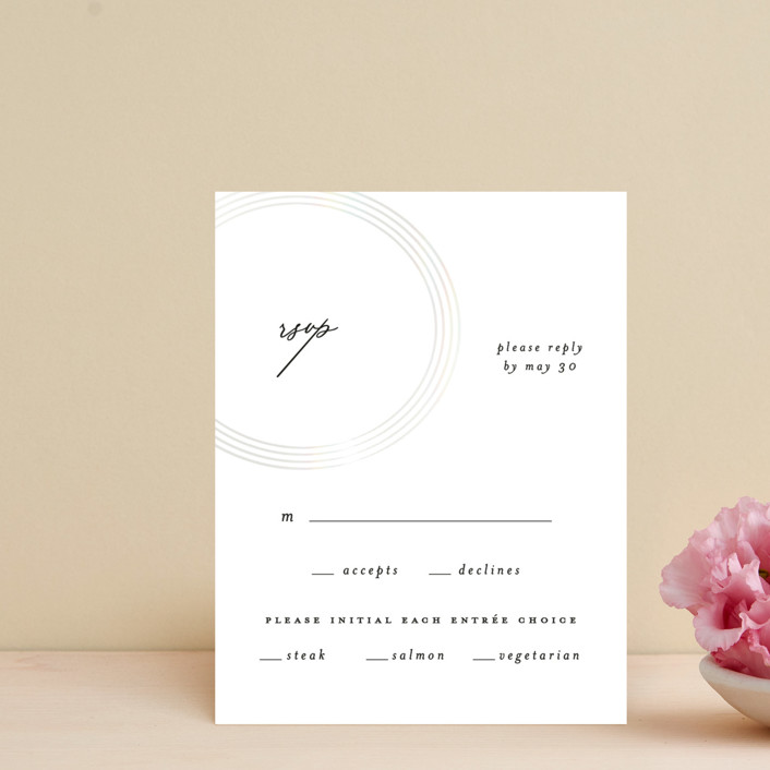 """gloss rings"" - Modern Gloss-press® Rsvp Cards in Quartz by Roxanne Fay."