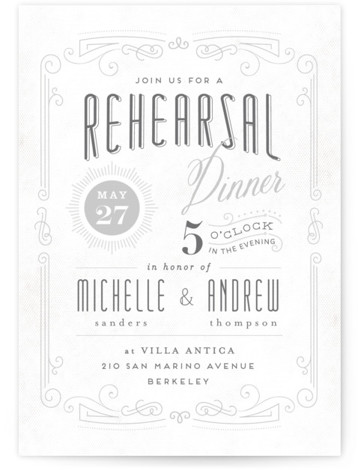 This is a portrait bold typographic, elegant, vintage, grey Rehearsal Dinner Invitations by chocomocacino called Truffle with Standard printing on Signature in Classic Flat Card format. Our unique wedding party invitations are fully customizable, sourced from independent designers and printed ...